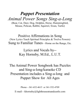 Puppet Presentation Animal Power Songs Sing-a-Long