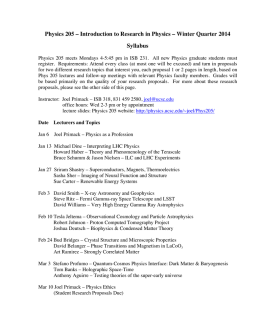 Introduction to Research in Physics – Winter Quarter 2014 Syllabus