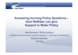 How NeWater can give Support in Water Policy
