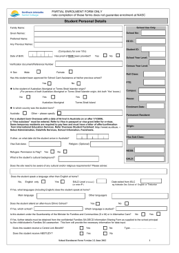 Enrolment Form - Northern Adelaide Senior College