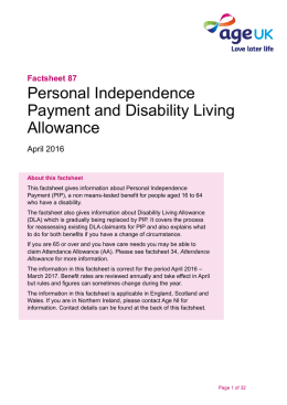Personal Independence Payment and Disability Living