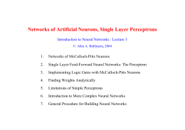 Networks of Artificial Neurons, Single Layer Perceptrons