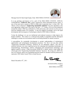 Message from Dr. Ram Gopal Gupta, Chair