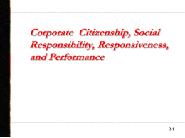 Corporate Social Responsibility, Responsiveness, and Performance