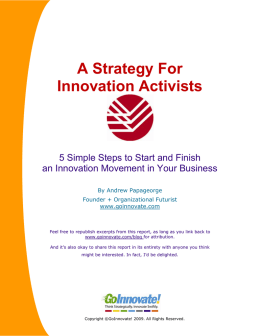 A Strategy For Innovation Activists