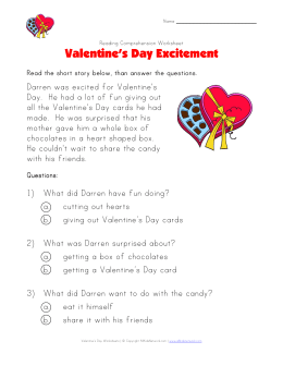 Valentine`s Day Reading Comprehension