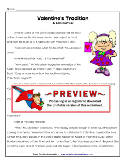 Valentine`s Tradition - Super Teacher Worksheets