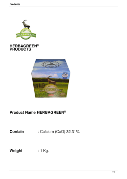 HERBAGREEN® PRODUCTS Product Name : HERBAGREEN