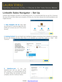 LinkedIn Sales Navigator – Set Up