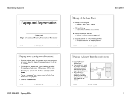 Paging and Segmentation - Computer Science