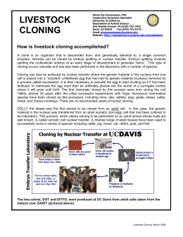 How is livestock cloning accomplished?