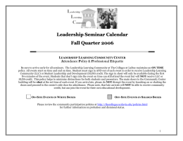 All Events Fall 06 - Center for Leadership Learning