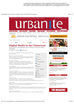 Digital Media in the Classroom - Baltimore City Community College