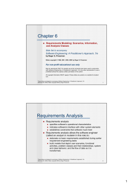 Chapter 6 Requirements Analysis