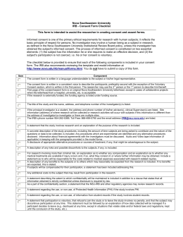Nova Southeastern University IRB - Consent Form Checklist This