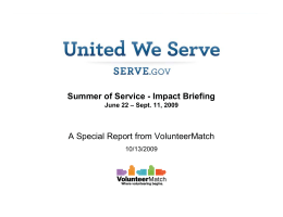Summer of Service - Impact Briefing A Special
