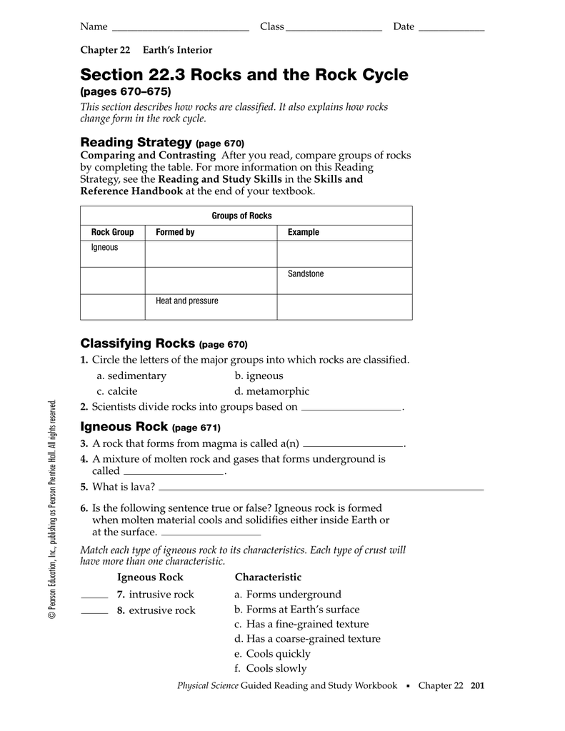 Workbooks physical science guided reading and study workbook : Section 22.3 Rocks and the Rock Cycle