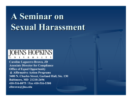 A Seminar on Sexual Harassment