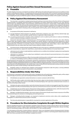 Policy Against Sexual and Non-Sexual Harassment A. Preamble B