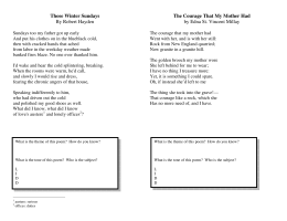 Those Winter Sundays By Robert Hayden The Courage That My
