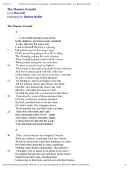 The Monster Grendel from Beowulf translated by Burton Raffel