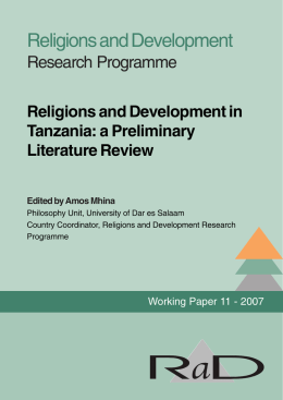 Religions and Development in Tanzania