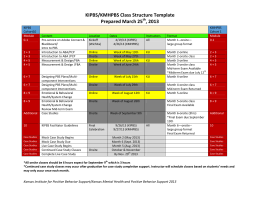 KIPBS/KMHPBS Class Structure Template Prepared March 25 , 2013