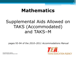 Mathematics Supplemental Aids Allowed on TAKS
