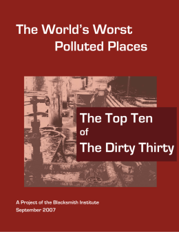 The World`s Worst Polluted Places The Top Ten The Dirty Thirty