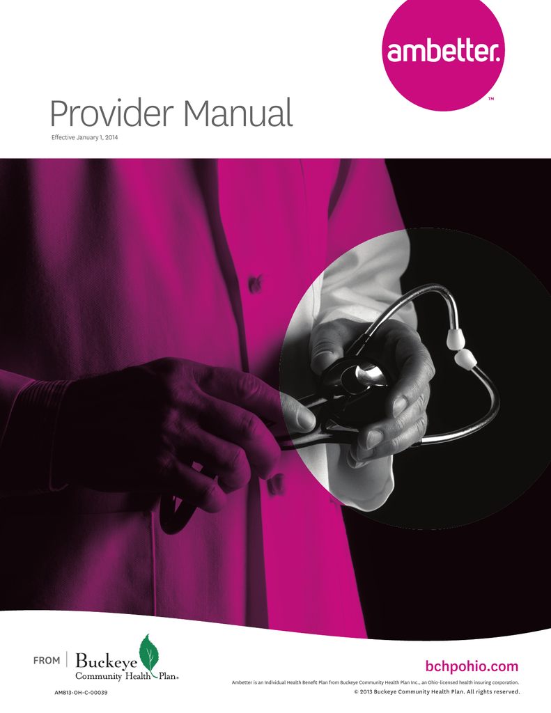 Provider Manual Ambetter From Buckeye Health Plan