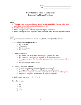 ECS 15: Introduction to Computers Example Final Exam Questions
