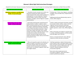 Marzano`s (Nine) High-Yield Instructional Strategies