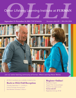 the Osher Lifelong Learning Institute at Furman (OLLI @ Furman)