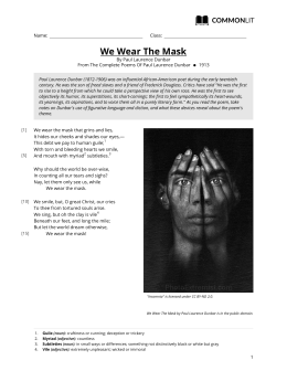 CommonLit | We Wear The Mask