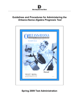 Guidelines and Procedures for Administering the Orleans