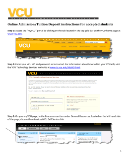 Online Admission/Tuition Deposit instructions for accepted students
