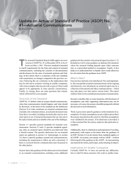 Update on Actuarial Standard of Practice (ASOP) No. 41