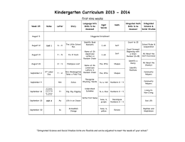 Kindergarten Curriculum 2013