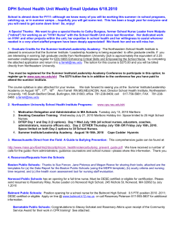 DPH School Health Unit Weekly Email Updates 6/18.2010
