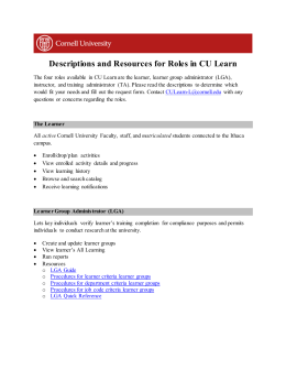 Descriptions and Resources for Roles in CU Learn