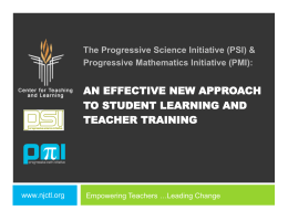 PSI-PMI Effective New Approaches to High School