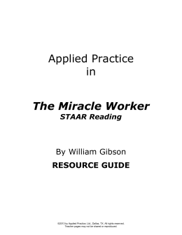 Applied Practice in The Miracle Worker