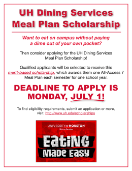 UH Dining Services Meal Plan Scholarship UH Dining