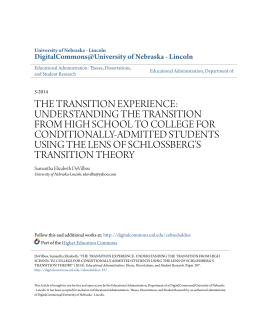 the transition experience: understanding the transition from high