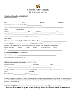 Kirksville Public Schools Return this form to your school along with