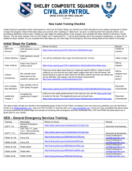 New Cadet Training Checklist Initial Steps for Cadets: GES
