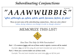 Subordinating Conjunctions MEMORIZE THIS LIST!