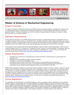 Master of Science in Mechanical - Engineering Online