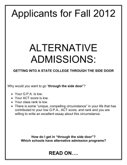 Applicants for Fall 2012 ALTERNATIVE ADMISSIONS