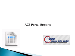 ACE Portal Reports